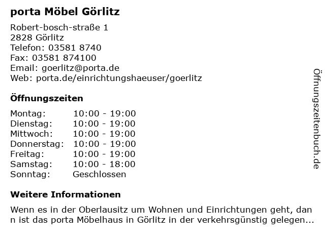 ᐅ öffnungszeiten Porta Möbel Robert Bosch Straße 1 In