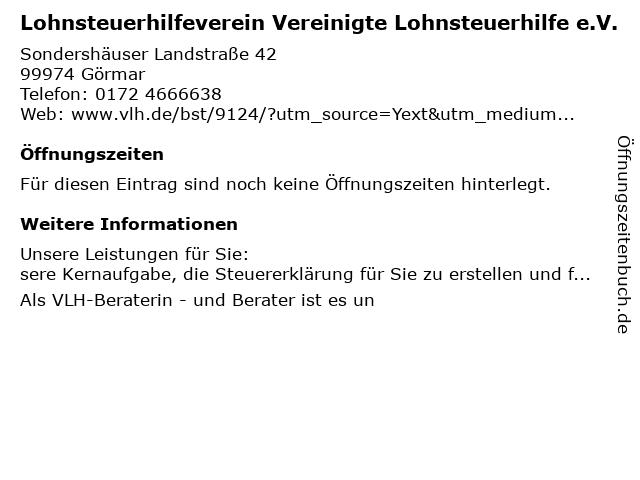 Vereinigte Lohnsteuerhilfe e.V. - Sandra Schilling in Görmar: Adresse und Öffnungszeiten