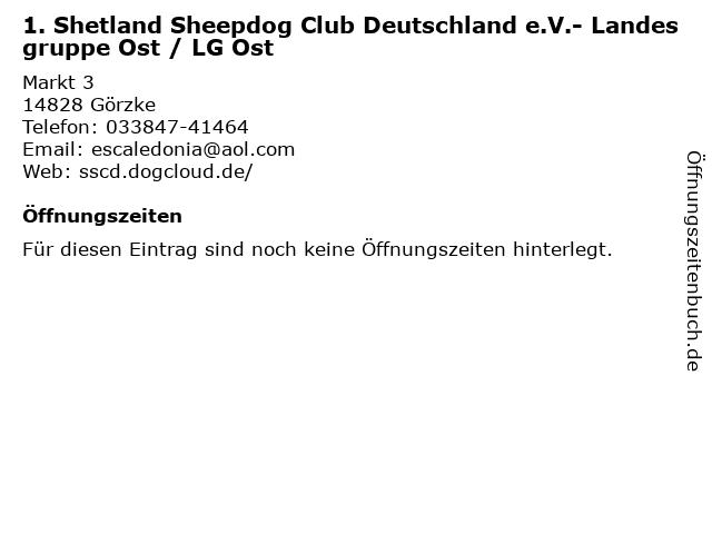 1. Shetland Sheepdog Club Deutschland e.V.- Landesgruppe Ost / LG Ost in Görzke: Adresse und Öffnungszeiten