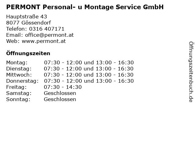 PERMONT Personal- u Montage Service GmbH in Gössendorf: Adresse und Öffnungszeiten