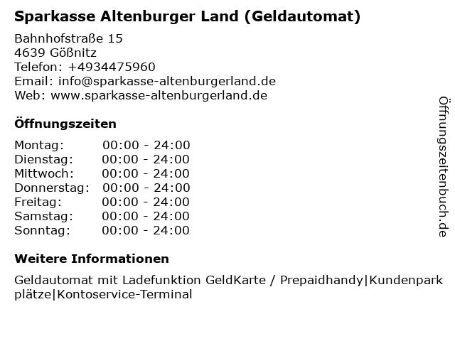 Sparkasse Altenburger Land - (Geldautomat Filiale) in Gößnitz: Adresse und Öffnungszeiten