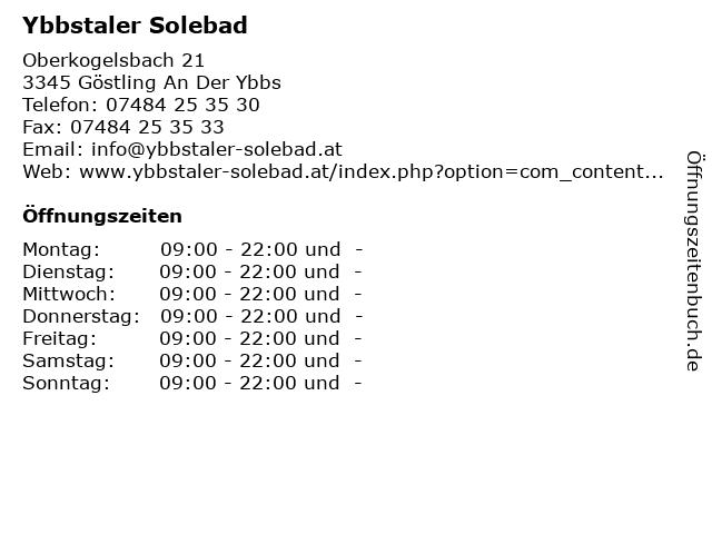 Ybbstaler Solebad in Göstling An Der Ybbs: Adresse und Öffnungszeiten