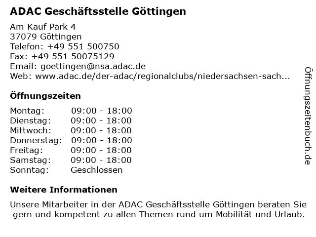 ADAC Geschäftsstelle Göttingen in Göttingen: Adresse und Öffnungszeiten