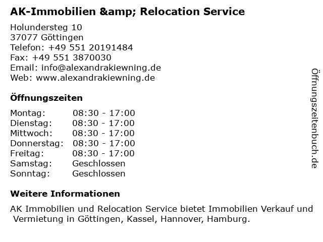 AK-Immobilien & Relocation Service in Göttingen: Adresse und Öffnungszeiten