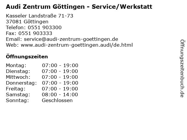 Audi Zentrum Göttingen - Service/Werkstatt in Göttingen: Adresse und Öffnungszeiten