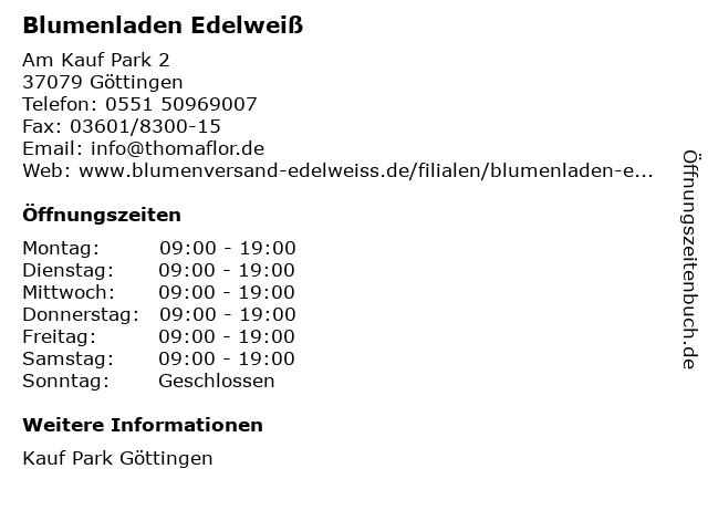 Blumenladen Edelweiß in Göttingen: Adresse und Öffnungszeiten