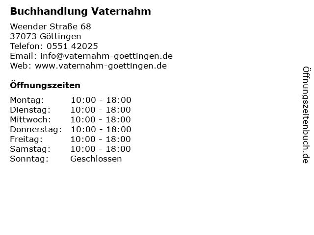 Buchhandlung Vaternahm in Göttingen: Adresse und Öffnungszeiten