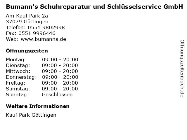 Bumann's Schuhreparatur und Schlüsselservice GmbH in Göttingen: Adresse und Öffnungszeiten
