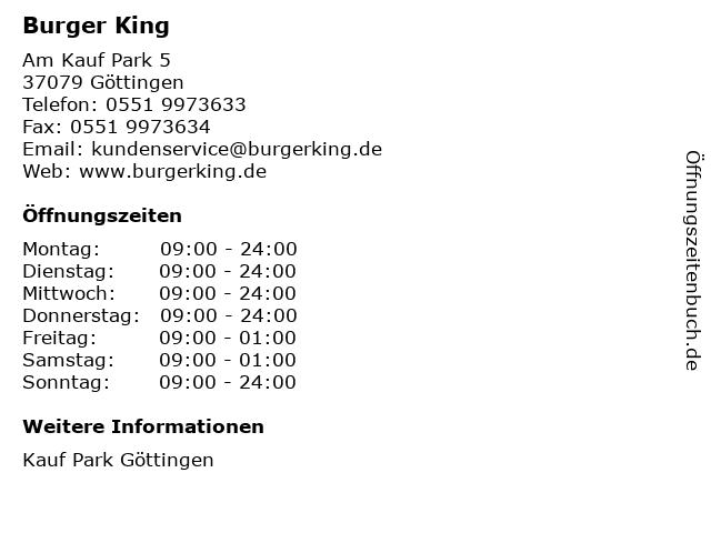 Burger King in Göttingen: Adresse und Öffnungszeiten