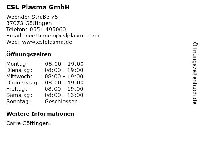 CSL Plasma GmbH in Göttingen: Adresse und Öffnungszeiten