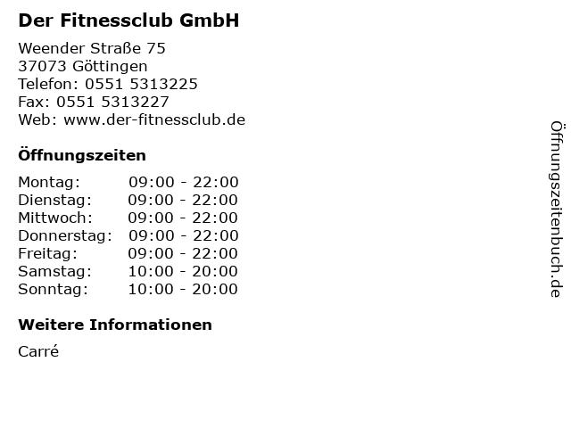 Der Fitnessclub GmbH in Göttingen: Adresse und Öffnungszeiten