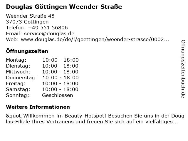 Parfümerie Douglas Göttingen in Göttingen: Adresse und Öffnungszeiten