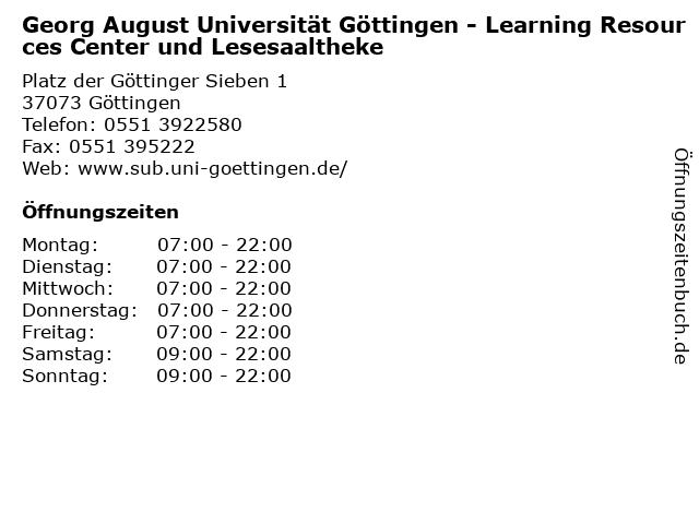 Georg August Universität Göttingen - Learning Resources Center und Lesesaaltheke in Göttingen: Adresse und Öffnungszeiten