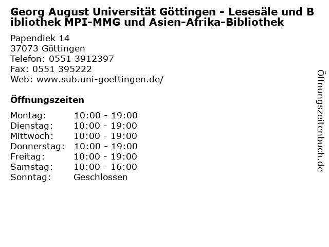Georg August Universität Göttingen - Lesesäle und Bibliothek MPI-MMG und Asien-Afrika-Bibliothek in Göttingen: Adresse und Öffnungszeiten