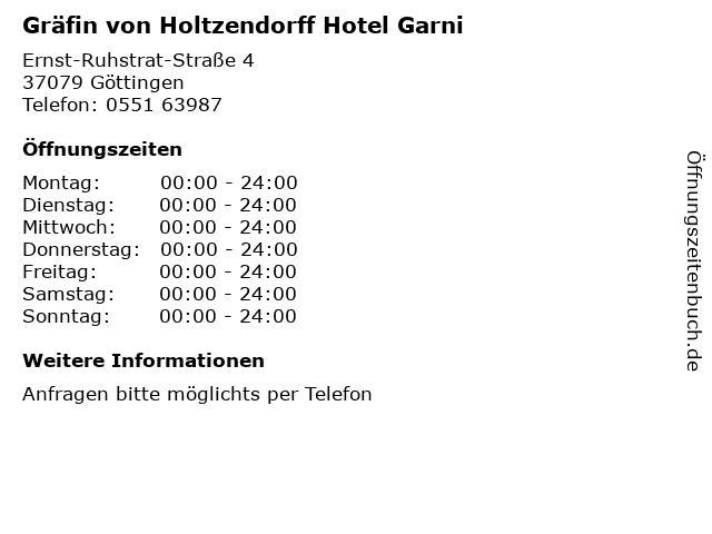 Gräfin von Holtzendorff Hotel Garni in Göttingen: Adresse und Öffnungszeiten