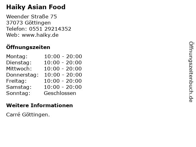 Haiky Asian Food in Göttingen: Adresse und Öffnungszeiten