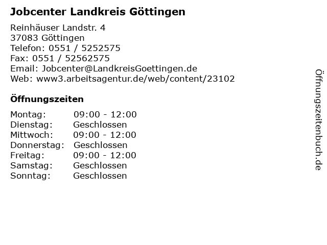 Jobcenter Landkreis Göttingen in Göttingen: Adresse und Öffnungszeiten