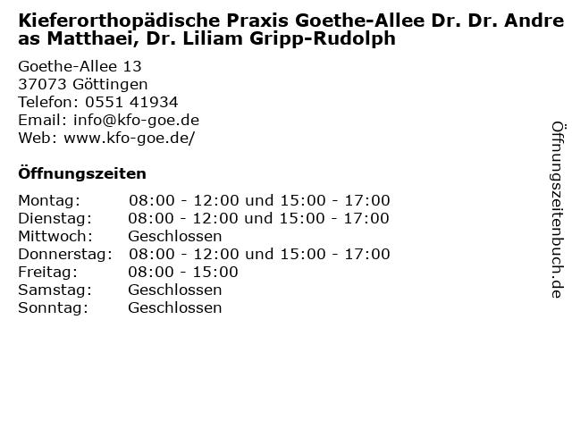 Kieferorthopädische Praxis Goethe-Allee Dr. Dr. Andreas Matthaei, Dr. Liliam Gripp-Rudolph in Göttingen: Adresse und Öffnungszeiten