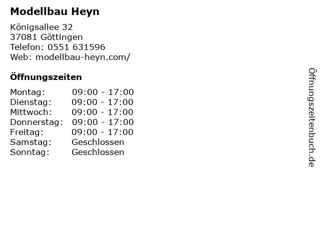 Modellbau Heyn in Göttingen: Adresse und Öffnungszeiten