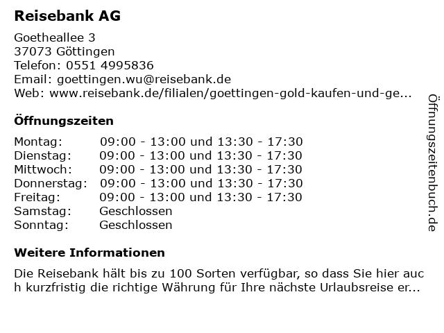 ReiseBank AG in Göttingen: Adresse und Öffnungszeiten