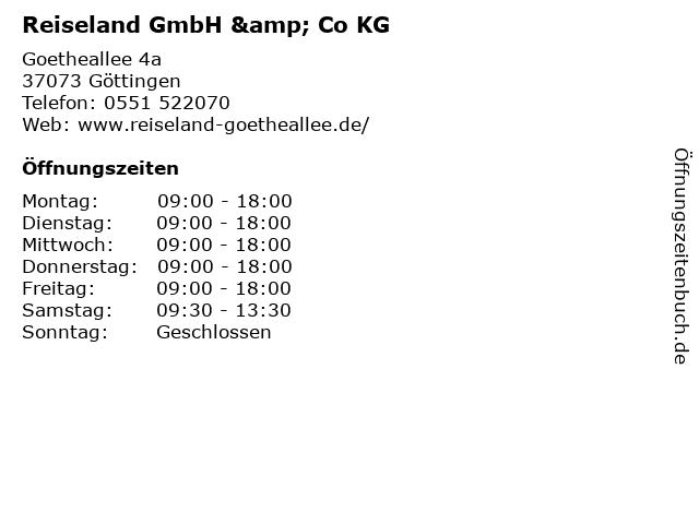 Reiseland GmbH & Co KG in Göttingen: Adresse und Öffnungszeiten