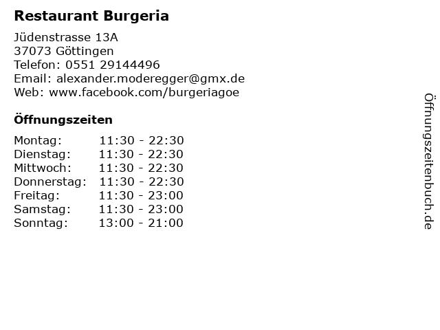 Restaurant Burgeria in Göttingen: Adresse und Öffnungszeiten