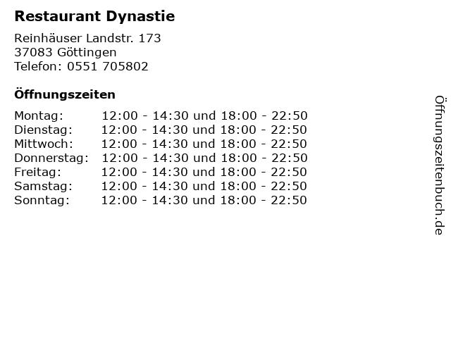 Restaurant Dynastie in Göttingen: Adresse und Öffnungszeiten