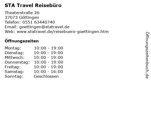 STA Travel Reisebüro in Göttingen: Adresse und Öffnungszeiten