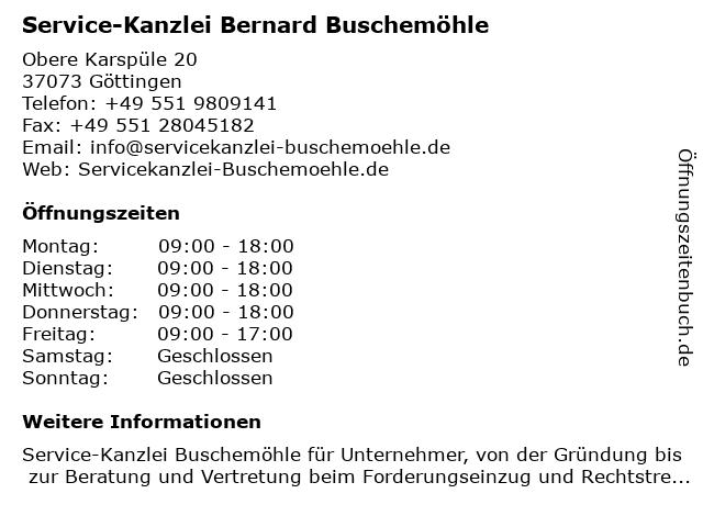 Service-Kanzlei Bernard Buschemöhle in Göttingen: Adresse und Öffnungszeiten