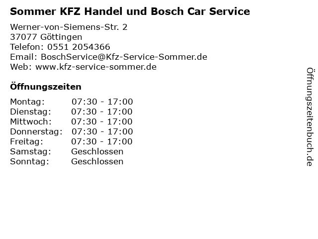 Sommer KFZ Handel und Bosch Car Service in Göttingen: Adresse und Öffnungszeiten