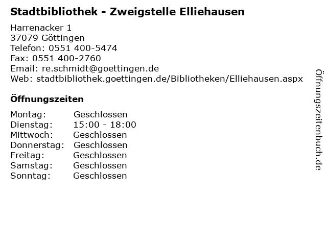 Stadtbibliothek - Zweigstelle Elliehausen in Göttingen: Adresse und Öffnungszeiten