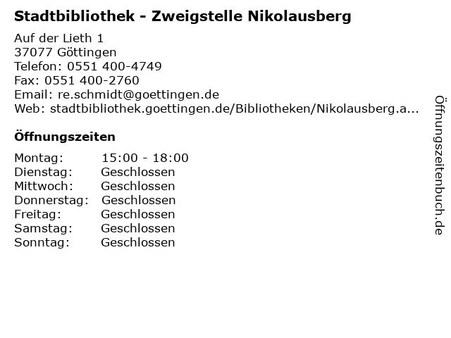 Stadtbibliothek - Zweigstelle Nikolausberg in Göttingen: Adresse und Öffnungszeiten