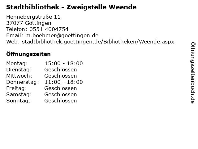 Stadtbibliothek - Zweigstelle Weende in Göttingen: Adresse und Öffnungszeiten