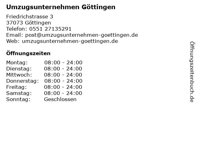 Umzugsunternehmen Göttingen in Göttingen: Adresse und Öffnungszeiten