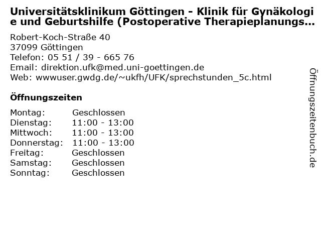 "ᐅ Öffnungszeiten ""Universitätsklinikum Göttingen - Klinik"
