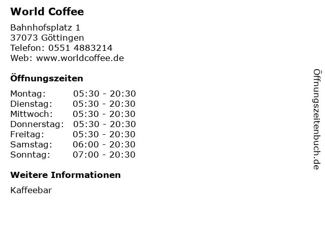 World Coffee in Göttingen: Adresse und Öffnungszeiten
