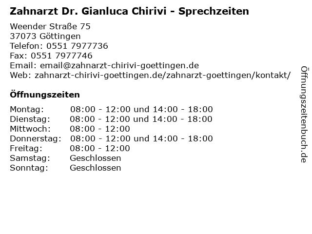 Zahnarzt Dr. Gianluca Chirivi - Sprechzeiten in Göttingen: Adresse und Öffnungszeiten
