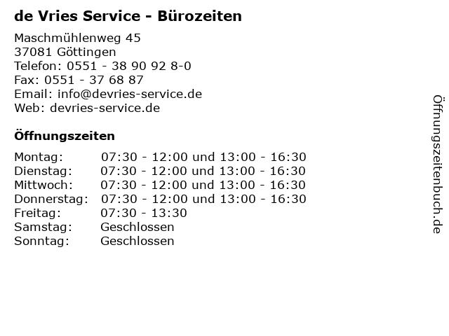 de Vries Service, Inh. Thomas de Vries e.K. - Bürozeiten in Göttingen: Adresse und Öffnungszeiten