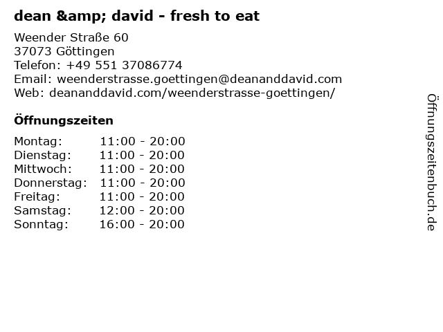 dean & david - fresh to eat in Göttingen: Adresse und Öffnungszeiten