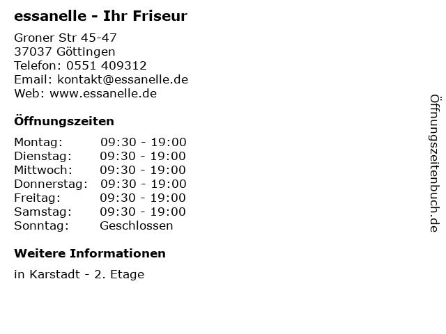 essanelle - Ihr Friseur in Göttingen: Adresse und Öffnungszeiten