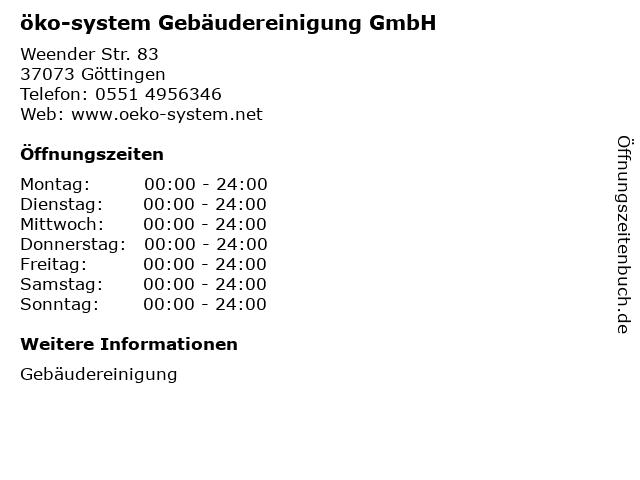 öko-system Gebäudereinigung GmbH in Göttingen: Adresse und Öffnungszeiten