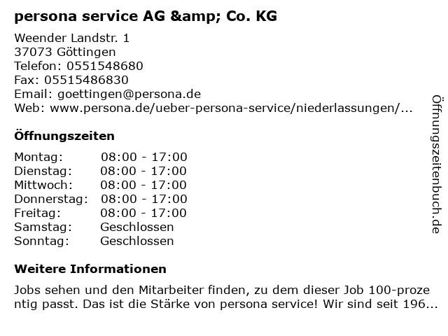 persona service AG & Co. KG in Göttingen: Adresse und Öffnungszeiten