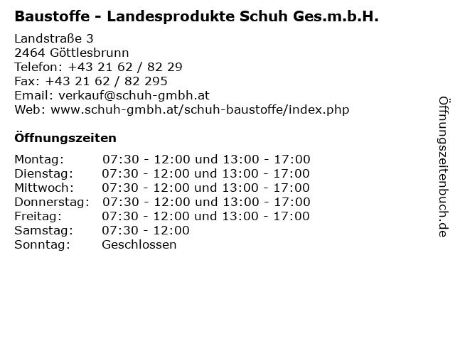 Baustoffe - Landesprodukte Schuh Ges.m.b.H. in Göttlesbrunn: Adresse und Öffnungszeiten
