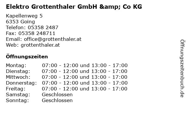 Elektro Grottenthaler GmbH & Co KG in Going: Adresse und Öffnungszeiten