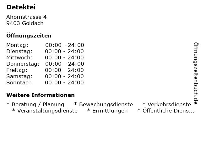 Detektei in Goldach: Adresse und Öffnungszeiten