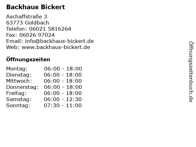 Backhaus Bickert in Goldbach: Adresse und Öffnungszeiten