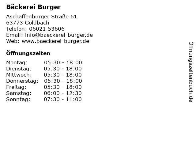Bäckerei Burger in Goldbach: Adresse und Öffnungszeiten