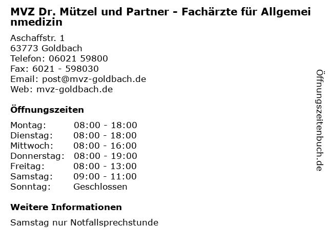 Dr.med. Christoph von Chamier-Glisczinski in Goldbach: Adresse und Öffnungszeiten