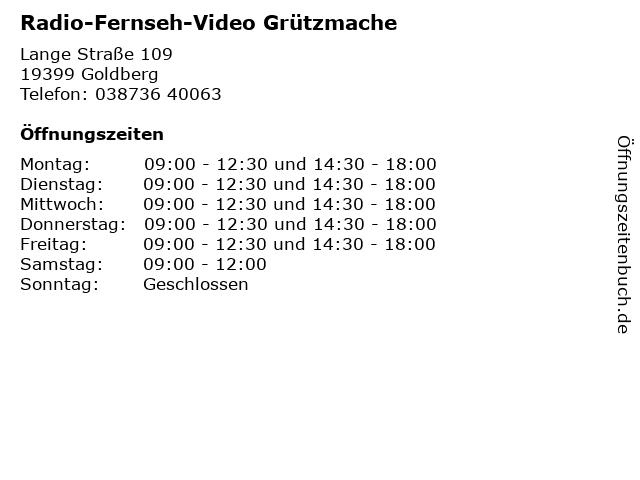 Radio-Fernseh-Video Grützmache in Goldberg: Adresse und Öffnungszeiten