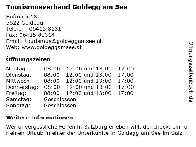 Tourismusverband Goldegg am See in Goldegg: Adresse und Öffnungszeiten